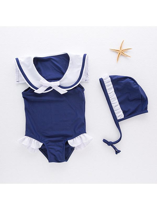 【2Y-9Y】Girls Navy Collar One Piece Swimsuit