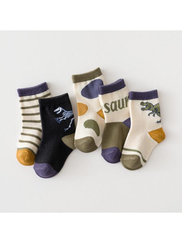 5 Pairs of Dinosaur Theme Kids Socks
