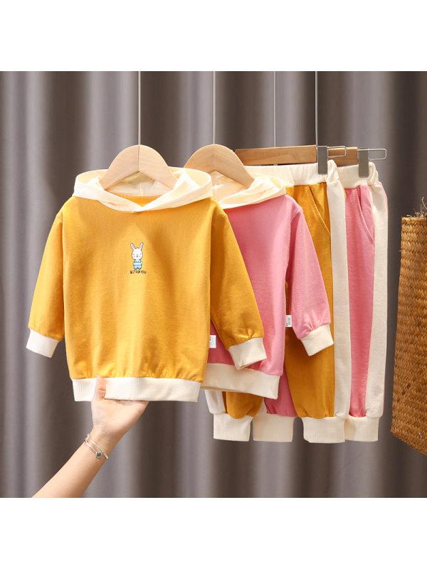 【12M-5Y】Girls Cartoon Print Hooded Long-Sleeved Sweatshirt And Casual Pants Suit
