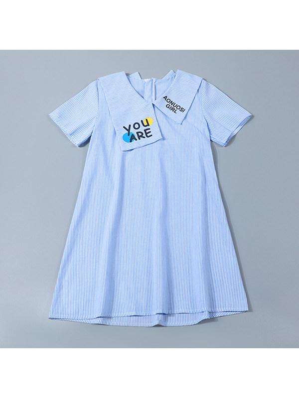 【4Y-13Y】Girls Lapel Short-sleeved Polo Striped Dress