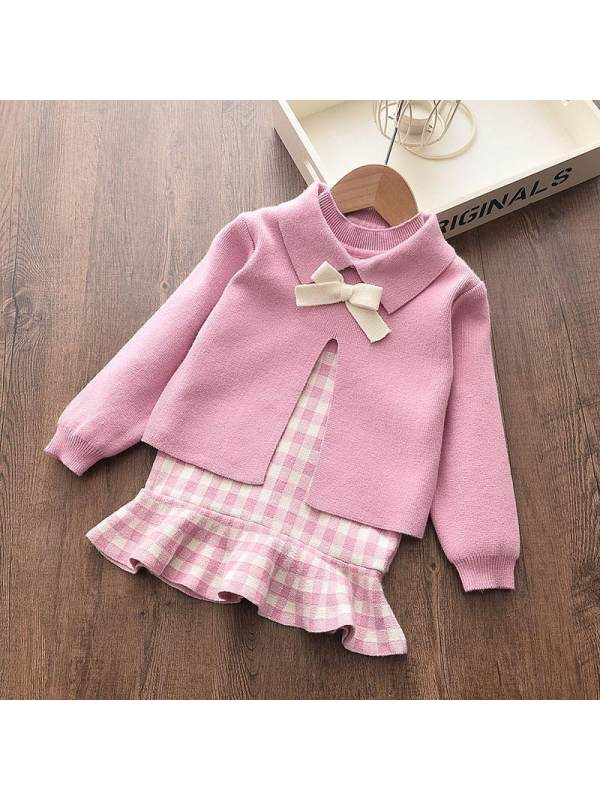 【18M-7Y】Girls Wool Cardigan And Sleeveless Dress Two-piece Suit