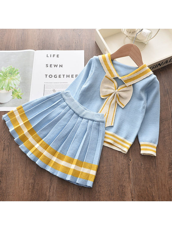【18M-7Y】Girls Long Sleeve Bow Top Pleated Dress Suit