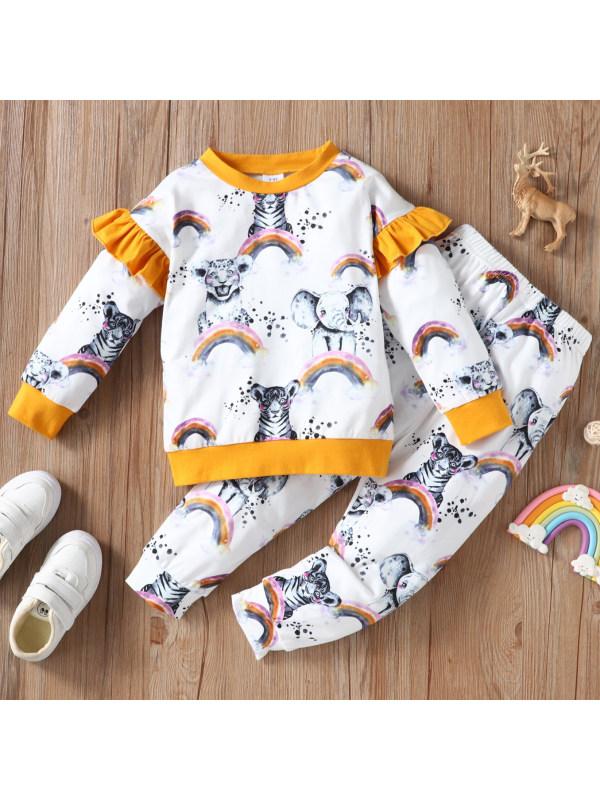 【18M-6Y】Cute Rainbow Print Long Sleeve Sweatshirt Set