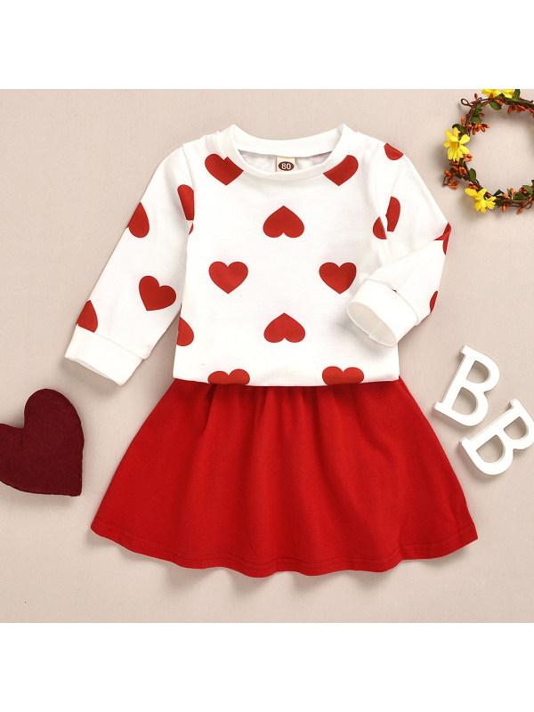 【12M-5Y】Girl Sweet Heart Shape Sweatshirt And Red Skirt Set