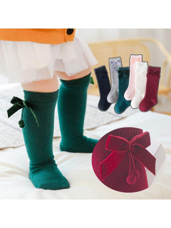 Ball Velvet Bow Socks
