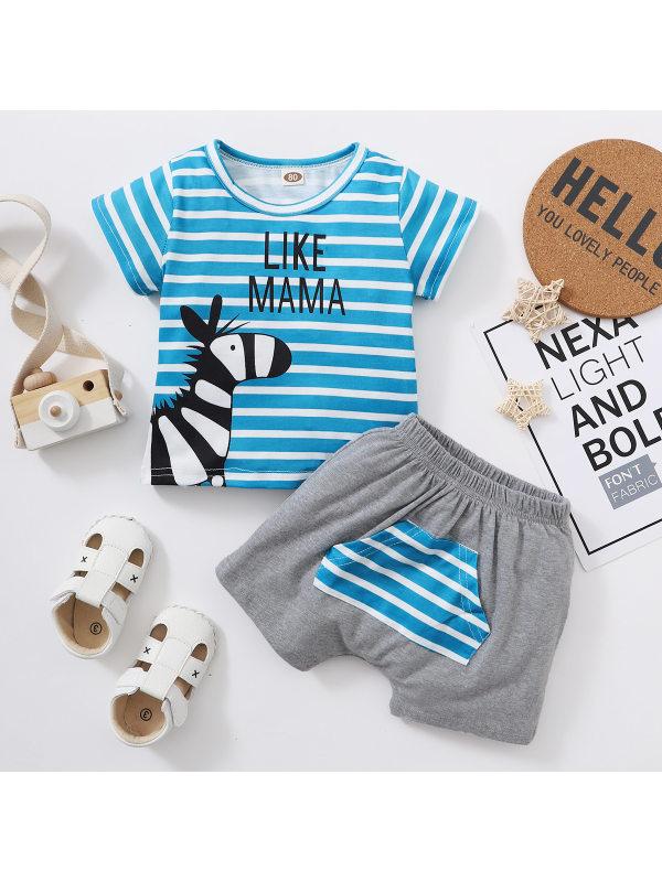 【6M-3Y】Baby Boy Zebra Print Blue And White Stripes Two-piece Suit