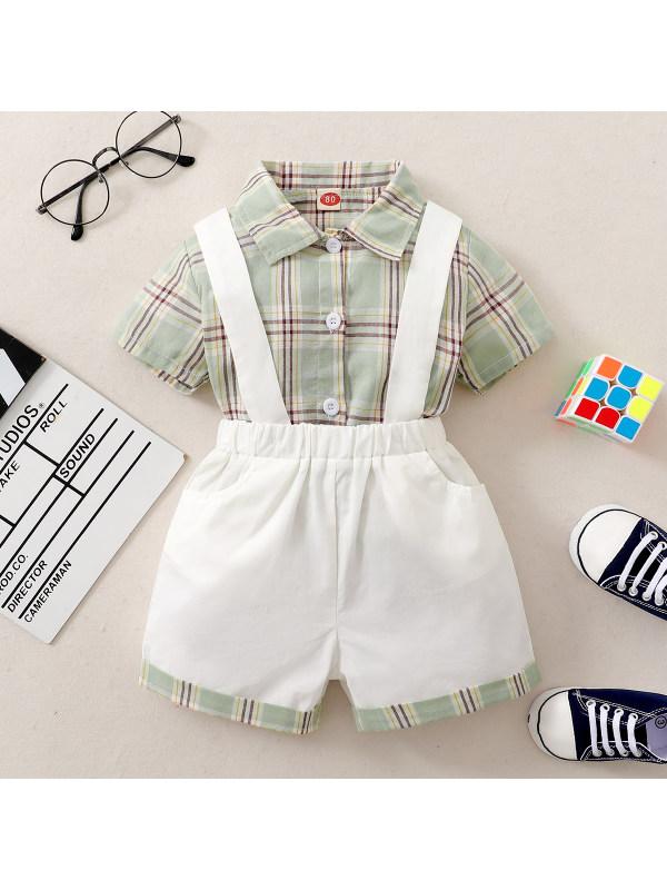 【6M-3Y】Baby Boy Plaid Short-sleeved Cotton Shirt Bib Suit