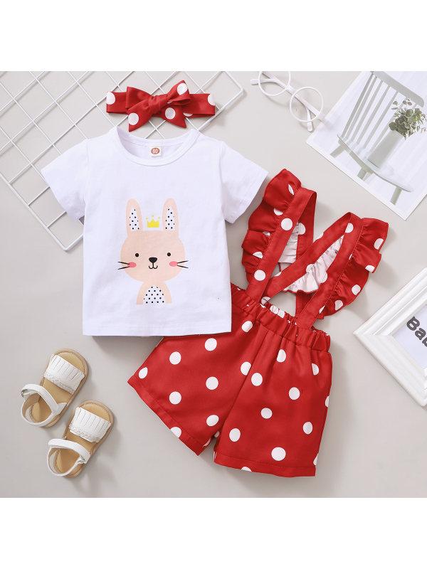 【6M-3Y】Girls Cute Rabbit Print Short-sleeved Wave Dot Pink Suspender Shorts Turban Suit