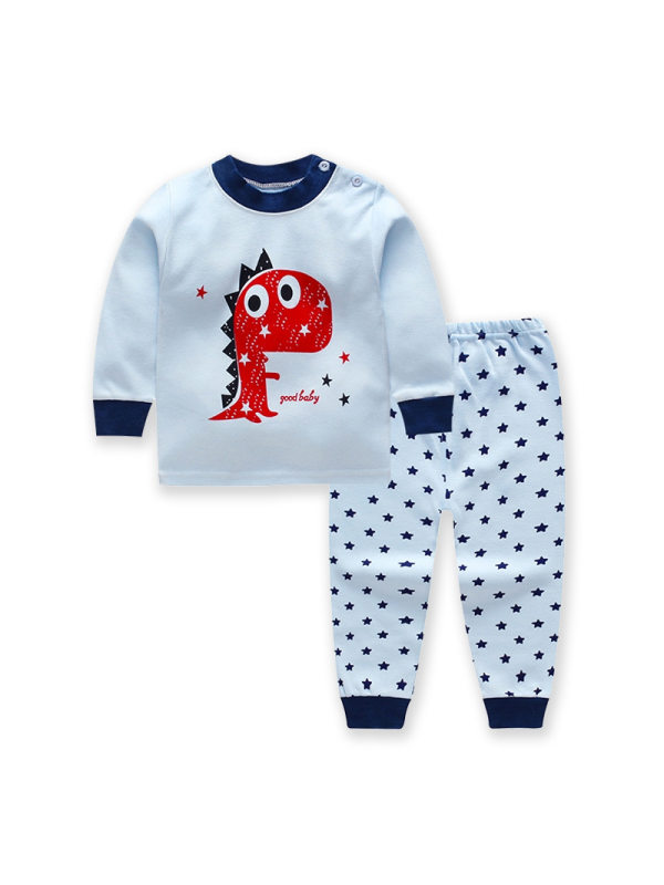 【6M-9Y】Kids Cotton Long-sleeved Pullover Trousers Home Suit