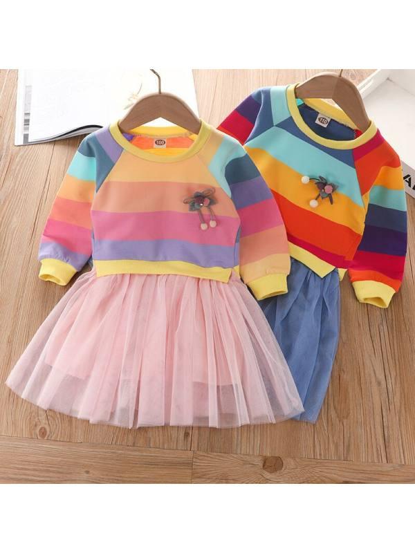 【2Y-9Y】Girl Cute Rainbow Striped Mesh Dress