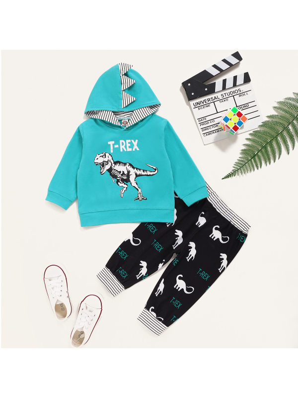 【6M-3Y】Boys Dinosaur Print Hooded Warm Hoodie And Trousers Two-piece Suit