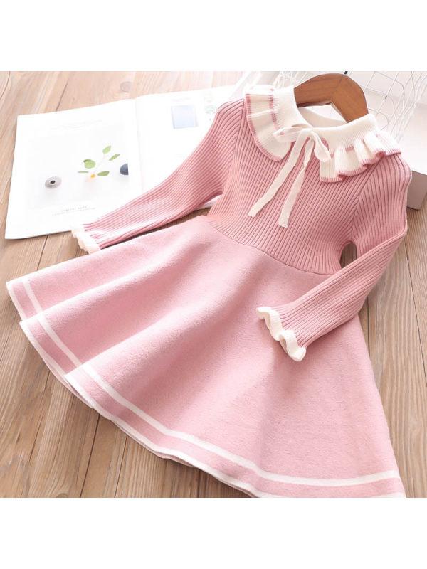 【3Y-13Y】Girls Cute Bow Sweater Dress