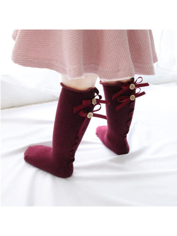 Girls Solid Color Button Bow Socks