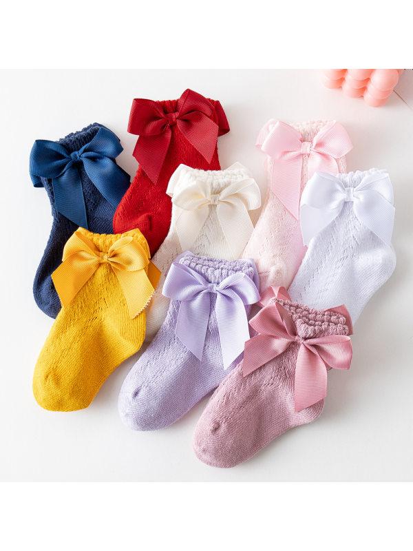 Girls Mesh Socks With Short Bow