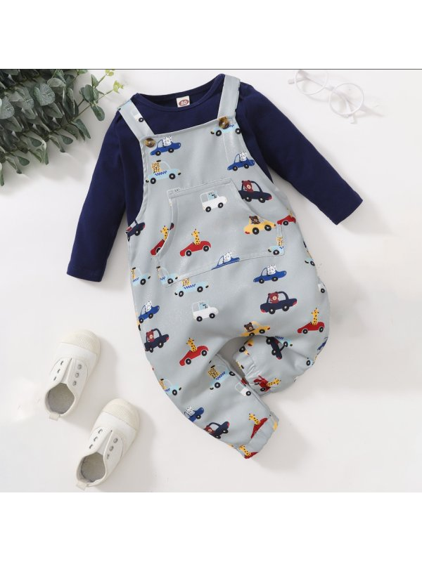 【6M-3Y】Baby Boy Yellow Long-sleeved Blouse Cartoon Print Suit