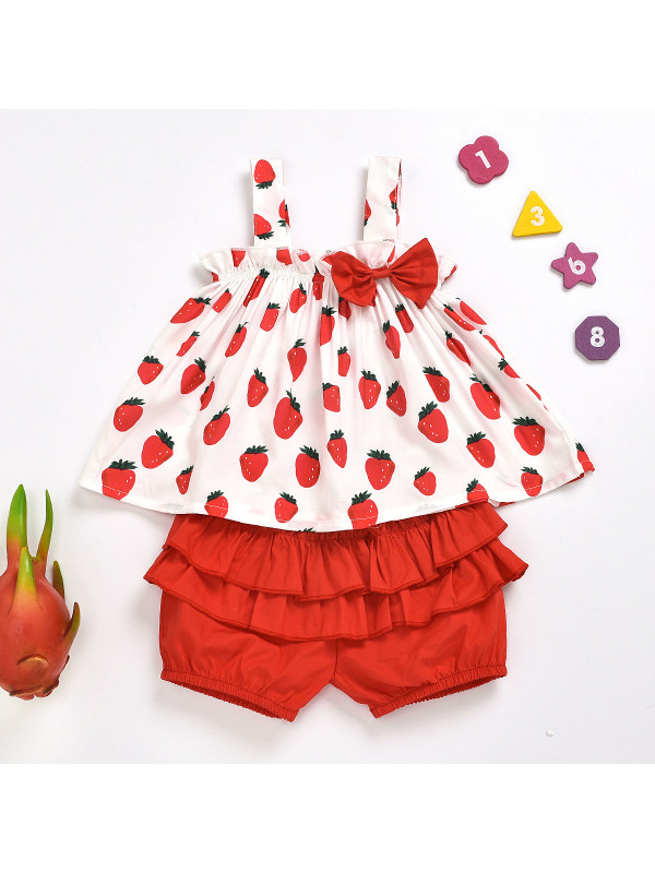 【18M-7Y】Girl Sweet Strawberry Print Top And Red Shorts Set
