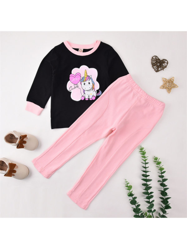 【18M-7Y】Girls Unicorn Long-sleeved T-Shirt Pink Trouser Suit
