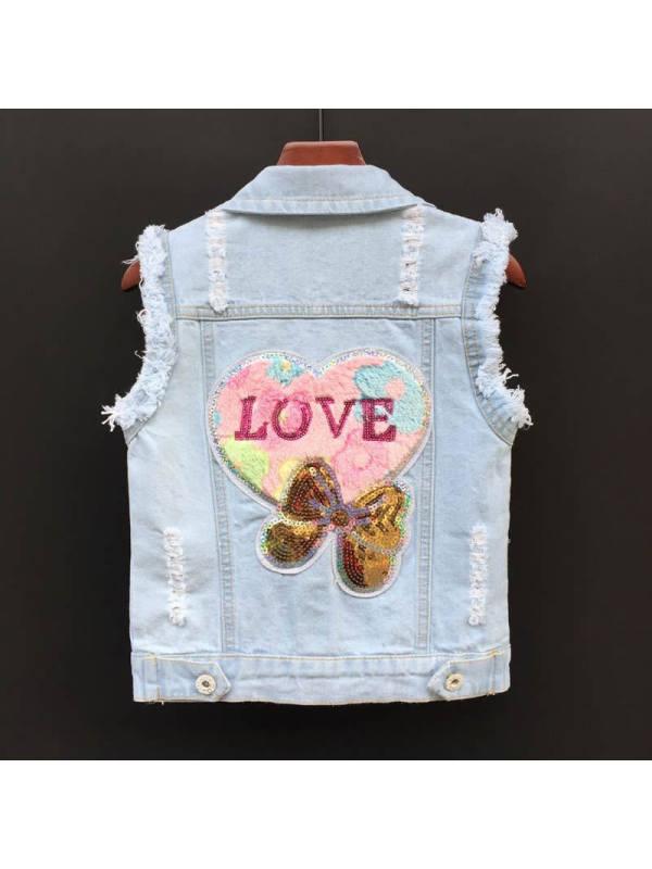 【18M-9Y】Girls Thin Denim Vest Jacket
