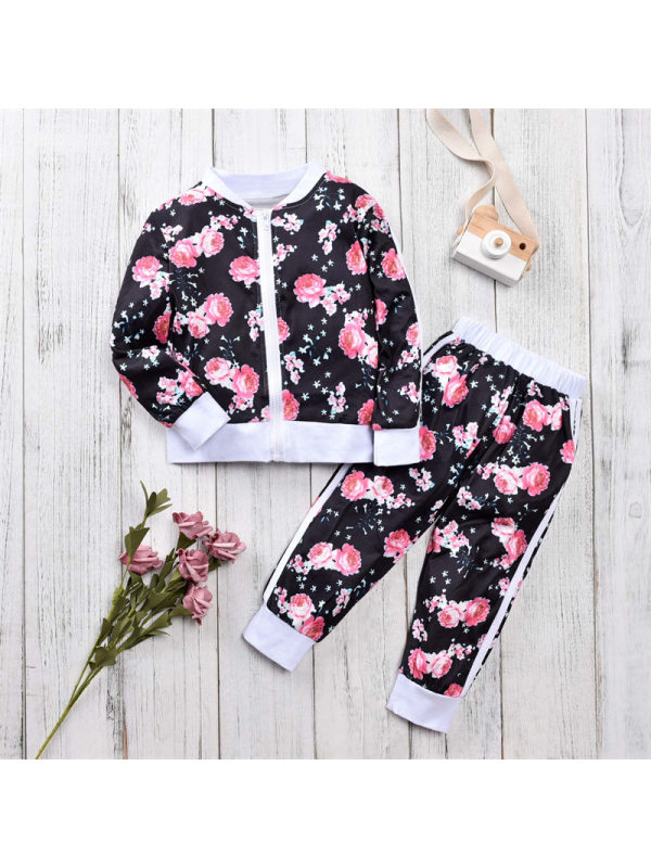 【18M-7Y】Girls Flower Print Zipper Coat And Trousers Two-piece Suit