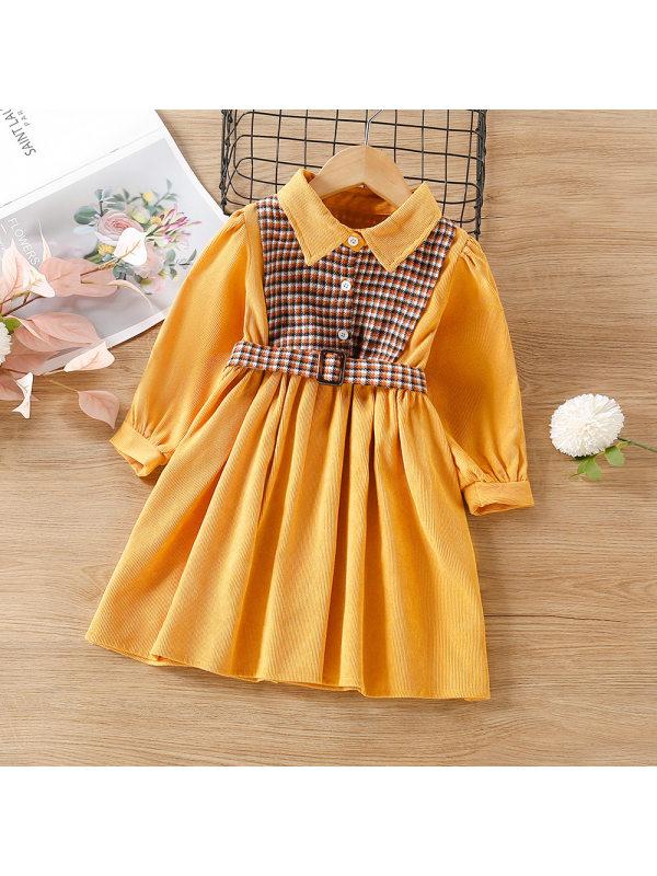 【18M-9Y】Girls Plaid Stitching Retro Dress