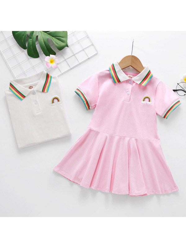 【18M-7Y】Girl Cute Rainbow Embroidered Polo Dress