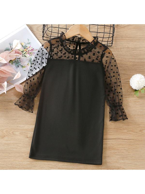 【18M-7Y】Girl Sweet Black Polka Dot Mesh Long Sleeve Dress