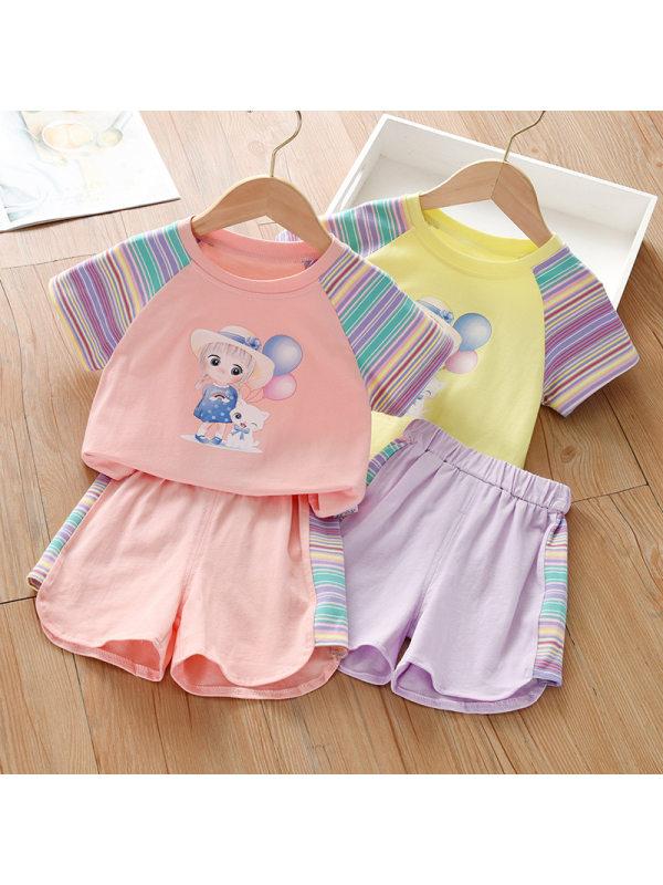 【18M-7Y】Girl Sweet Cartoon Pattern T-shirt Shorts Set