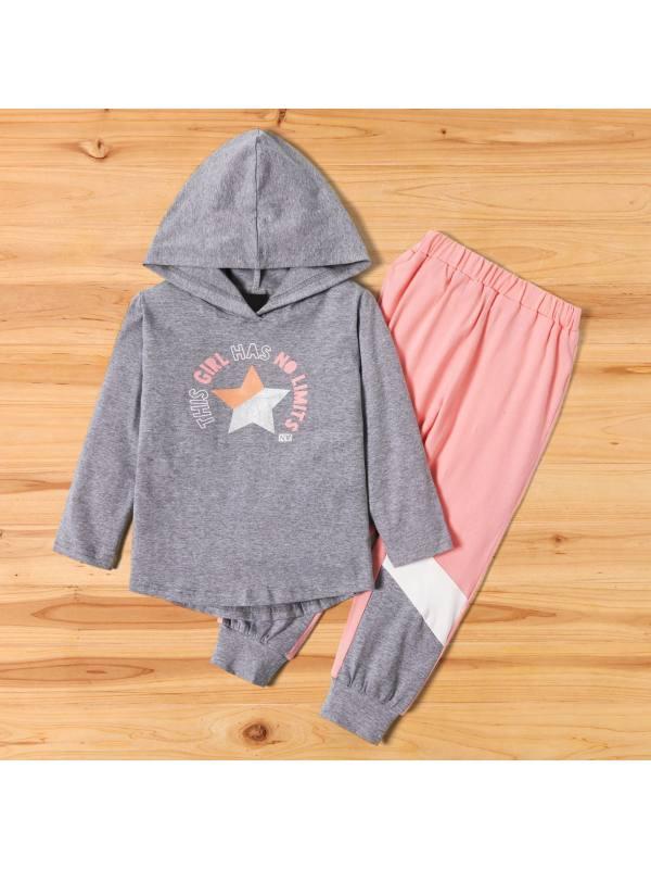【18M-7Y】Girls Sweet Gray Letter Pattern Hooded Sweatshirt Pants Set