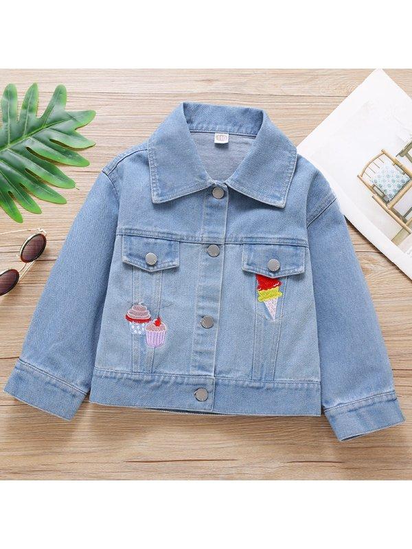 【18M-7Y】Girls Sweet Cartoon Embroidered Denim Jacket