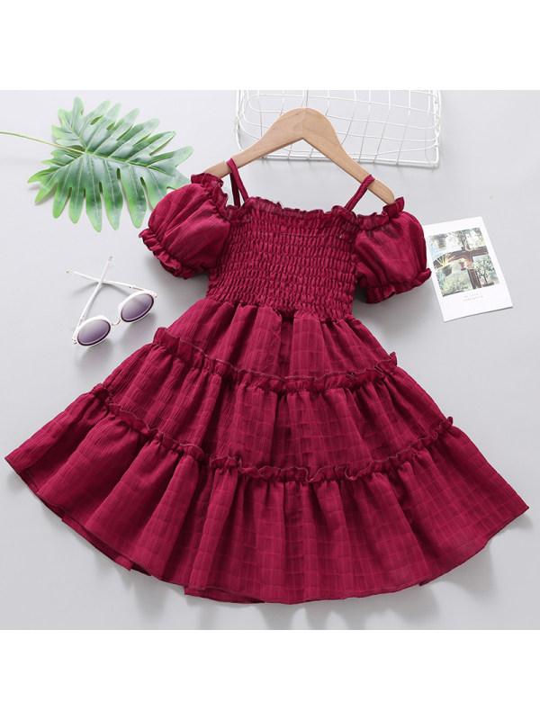 【18M-7Y】Girls Sweet Multicolor Off Shoulder Short Sleeve Dress