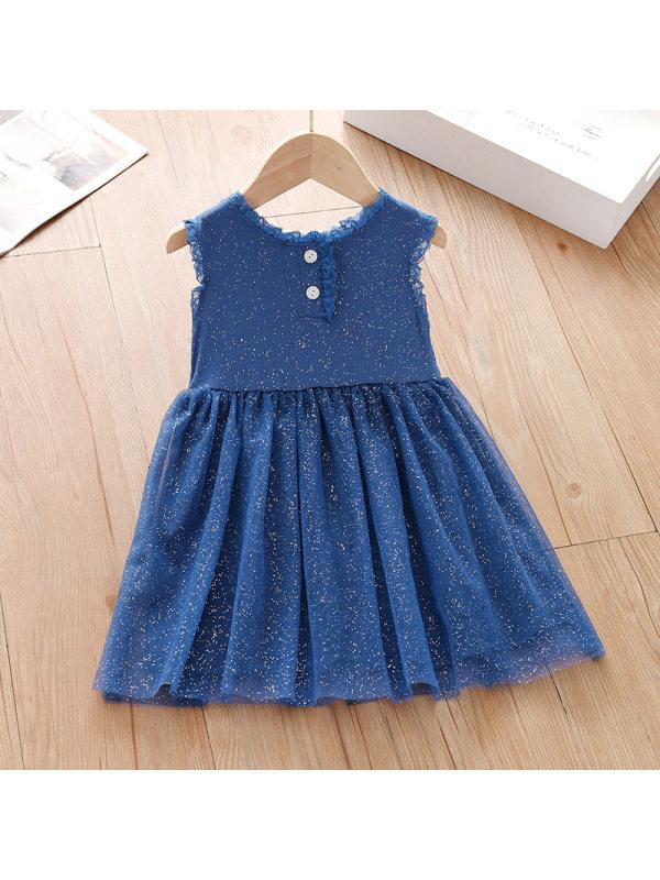【18M-7Y】Girl Sweet Blue Polka Dot Chiffon Sleeveless Dress