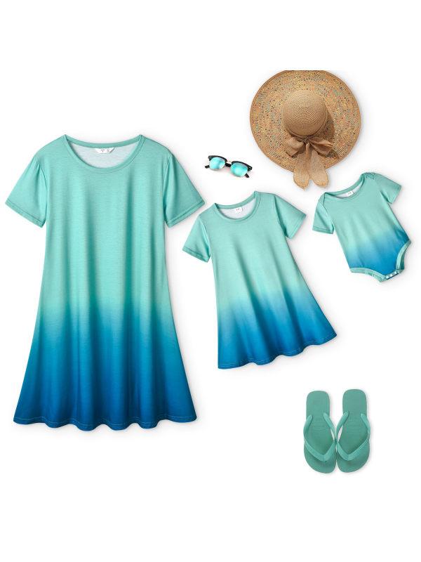 Sweet Blue Gradient Mom Girl Matching Dress