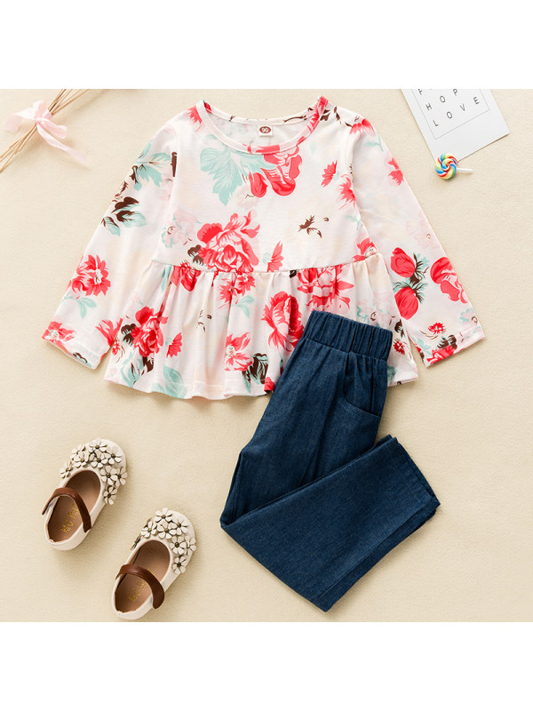 【18M-7Y】Girls Sweet Floral Long-sleeved T-shirt And Jeans Set