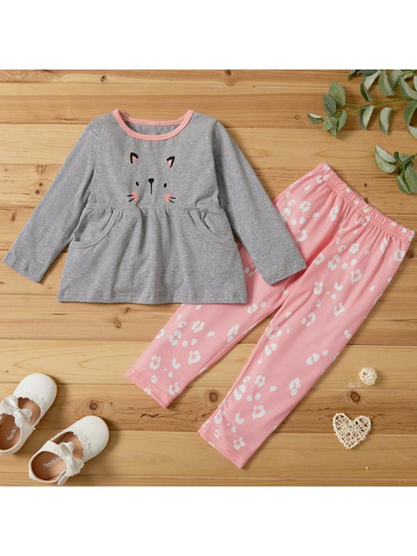 【18M-7Y】Girls Sweet Cat Pattern Long-sleeved T-shirt Pants Set
