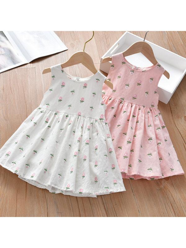 【18M-7Y】Girl Sweet Floral Sleeveless Dress