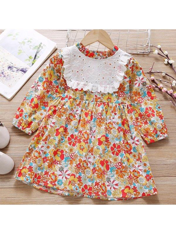 【18M-7Y】Girl Sweet Orange Floral Long Sleeve Dress