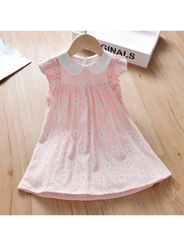 【18M-7Y】Girl Sweet Pink Floral Sleeveless Dress
