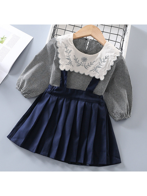 【18M-7Y】Girl Sweet Plaid Shirt Suspender Skirt Set