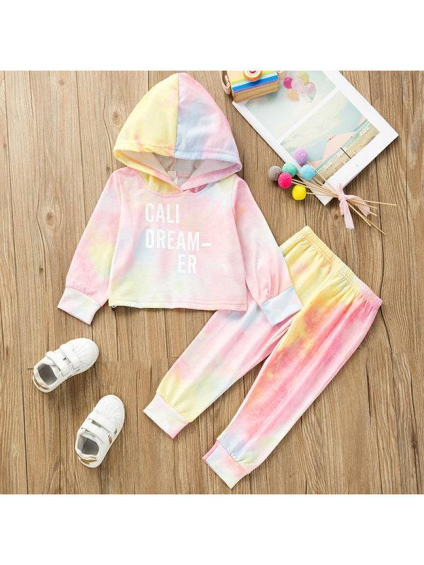 【18M-7Y】Girls Sweet Pink Tie-dye Hooded Sweatshirt Pants Set