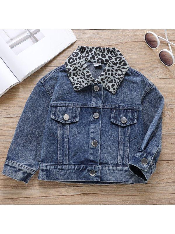 【18M-7Y】Girls Sweet Leopard Stitching Denim Jacket