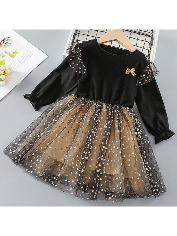 【18M-7Y】Girl Sweet Black Mesh Long Sleeve Dress