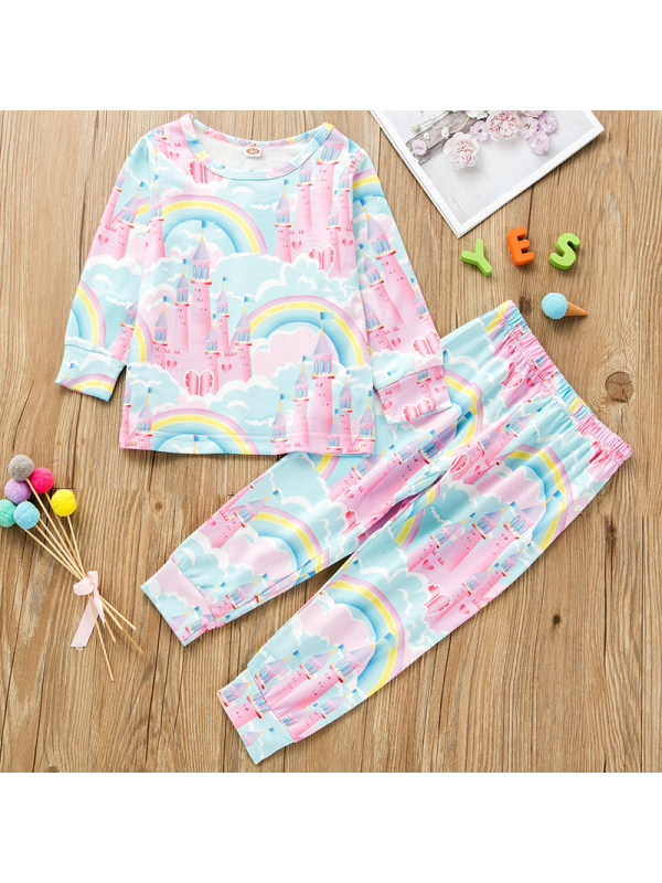 【18M-7Y】Girls Sweet Castle Pattern Long-sleeved T-shirt Pants Set