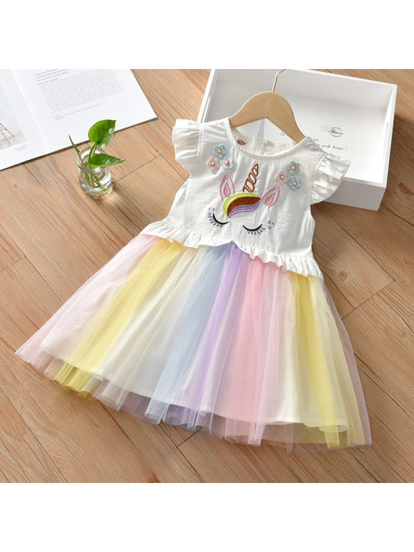 【18M-7Y】Girls Sweet Unicorn Pattern Mesh Dress