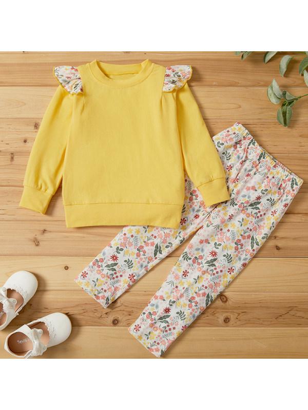 【18M-7Y】Girls Sweet Yellow Floral Sweatshirt Pants Suit