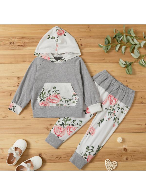 【18M-7Y】Girls Sweet Grey Floral Hooded Sweatshirt Pants Suit