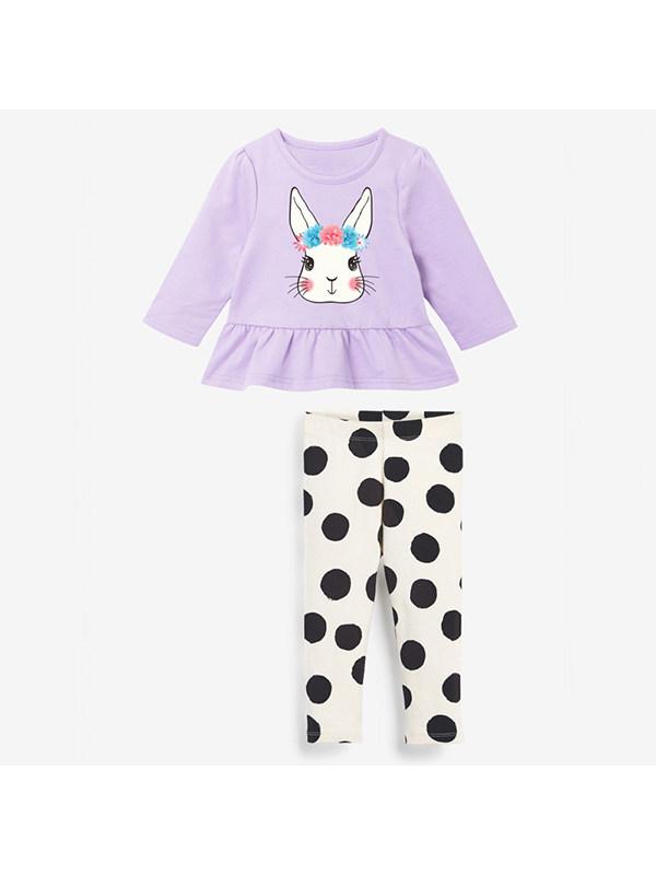 【18M-9Y】Polka Dot Print Hit Color Long-sleeved Suit