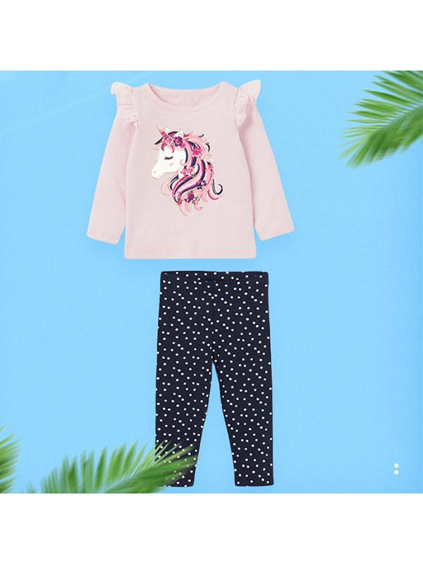【18M-9Y】Girls Unicorn Print Lace Long-sleeved Suit