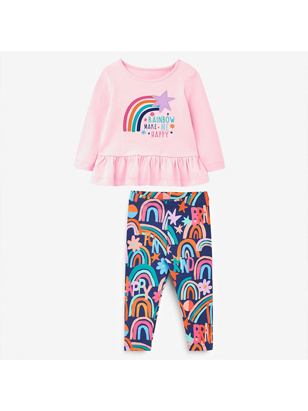 【18M-9Y】Girls' Rainbow Embroidery Hit Color Long-sleeved Suit