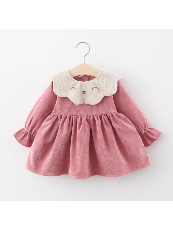 【6M-3Y】Girls' Doll Collar Long Sleeve Solid Color Dress