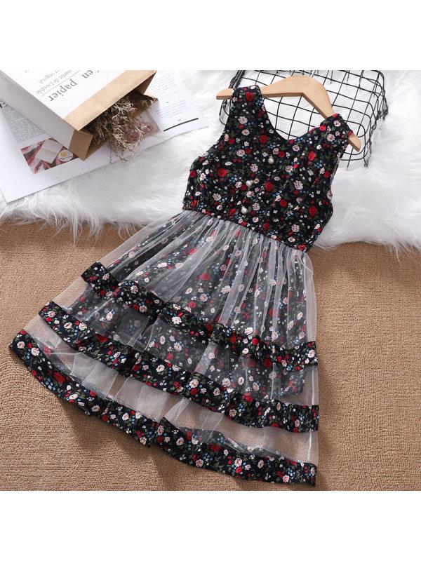 【3Y-13Y】Girls V-neck Sleeveless Floral Dress